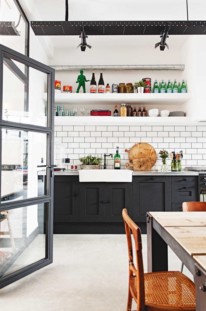 kitchen matt black cabinets white farmhouse sink zinc benchtop