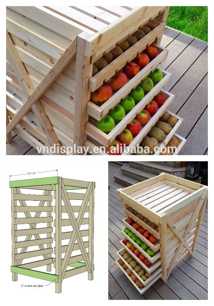 Supermercado De Frutas Y Verduras De Madera Display Rack