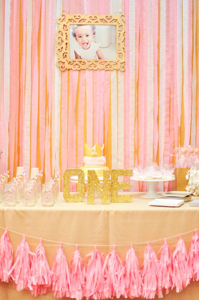 Royalty Meets The One Year Old Princess Birthday Project Nursery First Birthday Decorations Pink And Gold Birthday Party Pink Birthday Party
