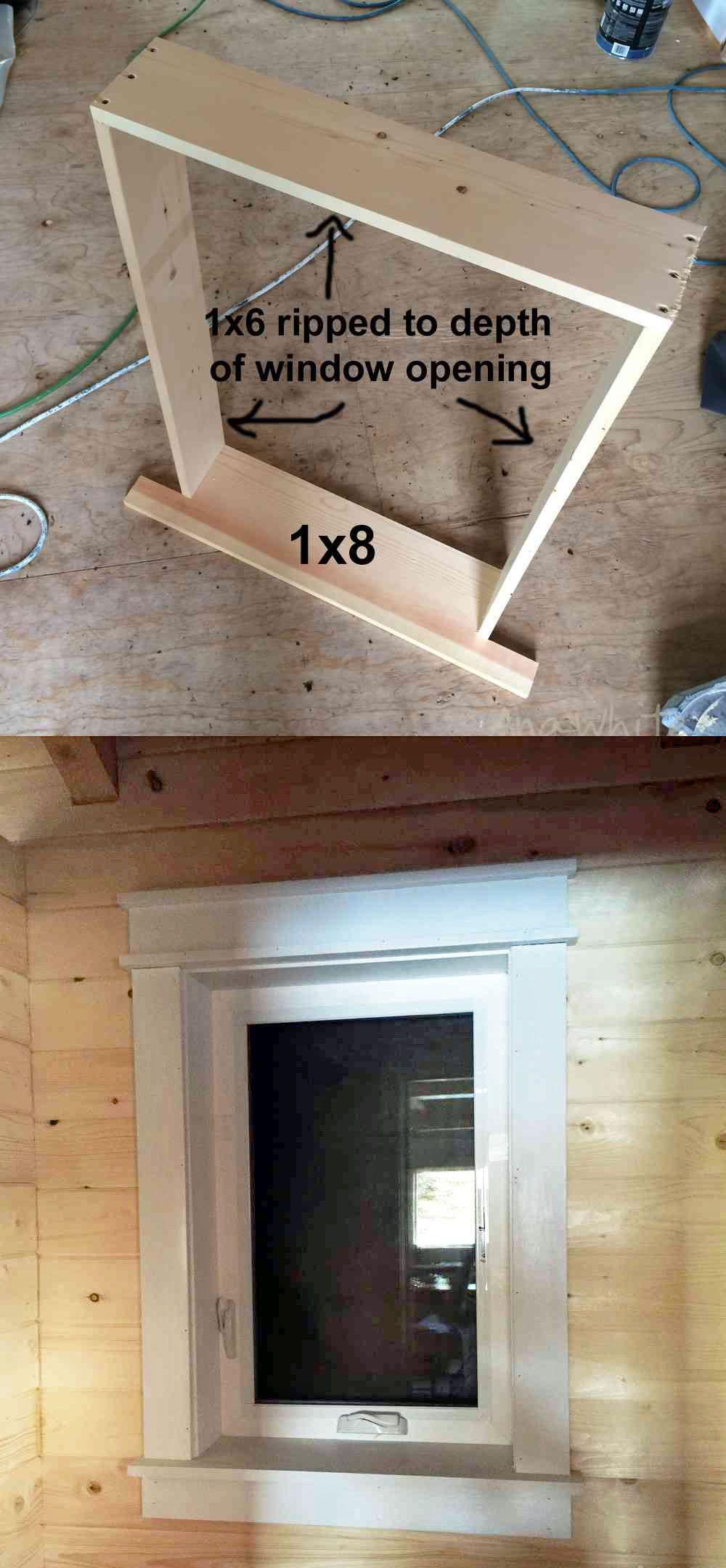 Farmhouse Style Window Trim from Pine Boards Farmhouse