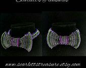 Purple and green chainmail bow tie.