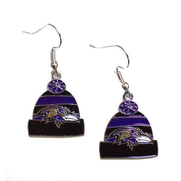 Baltimore Ravens Knit Hat Dangle Earrings