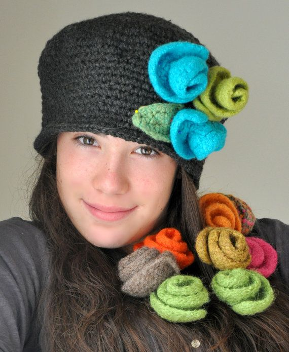 045d737fcf0 Heather Gray Crochet Hat Cloche Hat with Turquoise by TeaPartyHats ...
