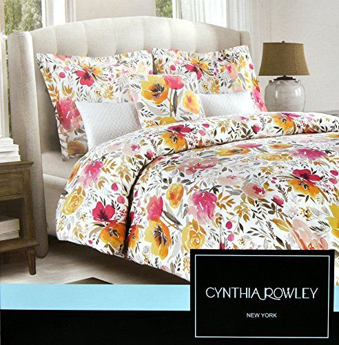 Cynthia Rowley 3pc Duvet Cover Set Large Flowers Watercolor Multicolored Floral Cotton Queen Visit The Image Li Duvet Cover Sets Duvet Covers Duvet Bedding