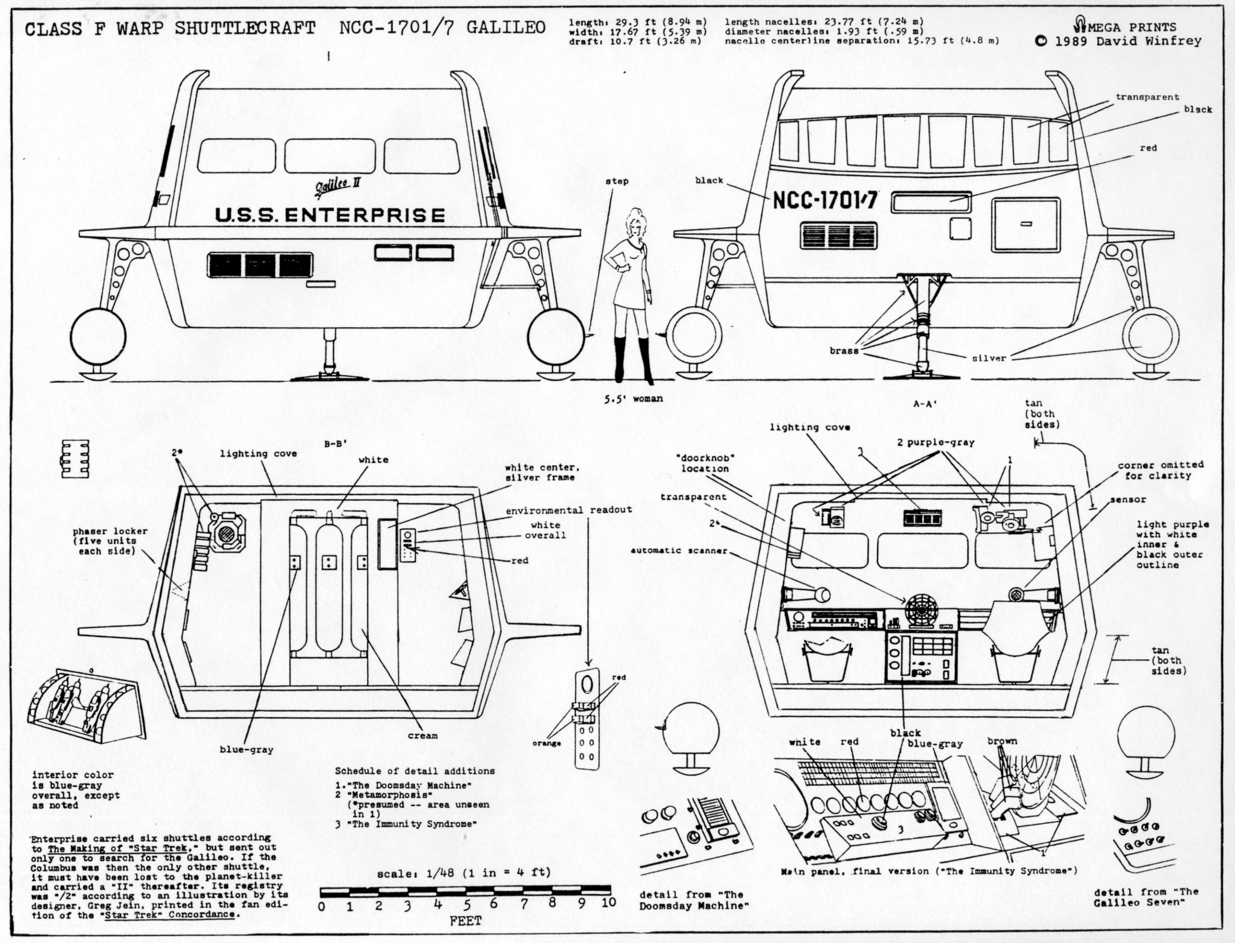 Shuttlecraft Galileo NCC-1701/7 Front & Rear Views | Star Trek ...