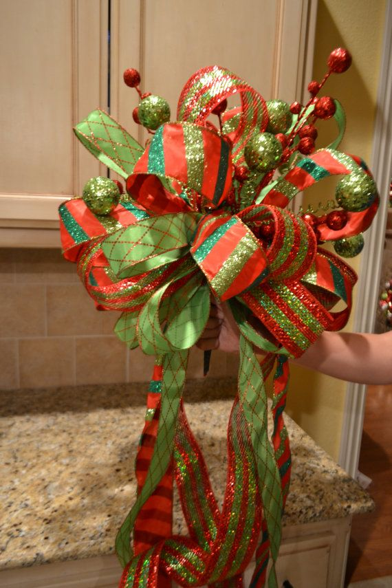 lime green and red striped ribbon tree topper by kristenscreations christmas ideas pinterest. Black Bedroom Furniture Sets. Home Design Ideas