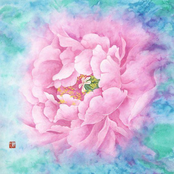 original chinese watercolor watercolor flower chinese art