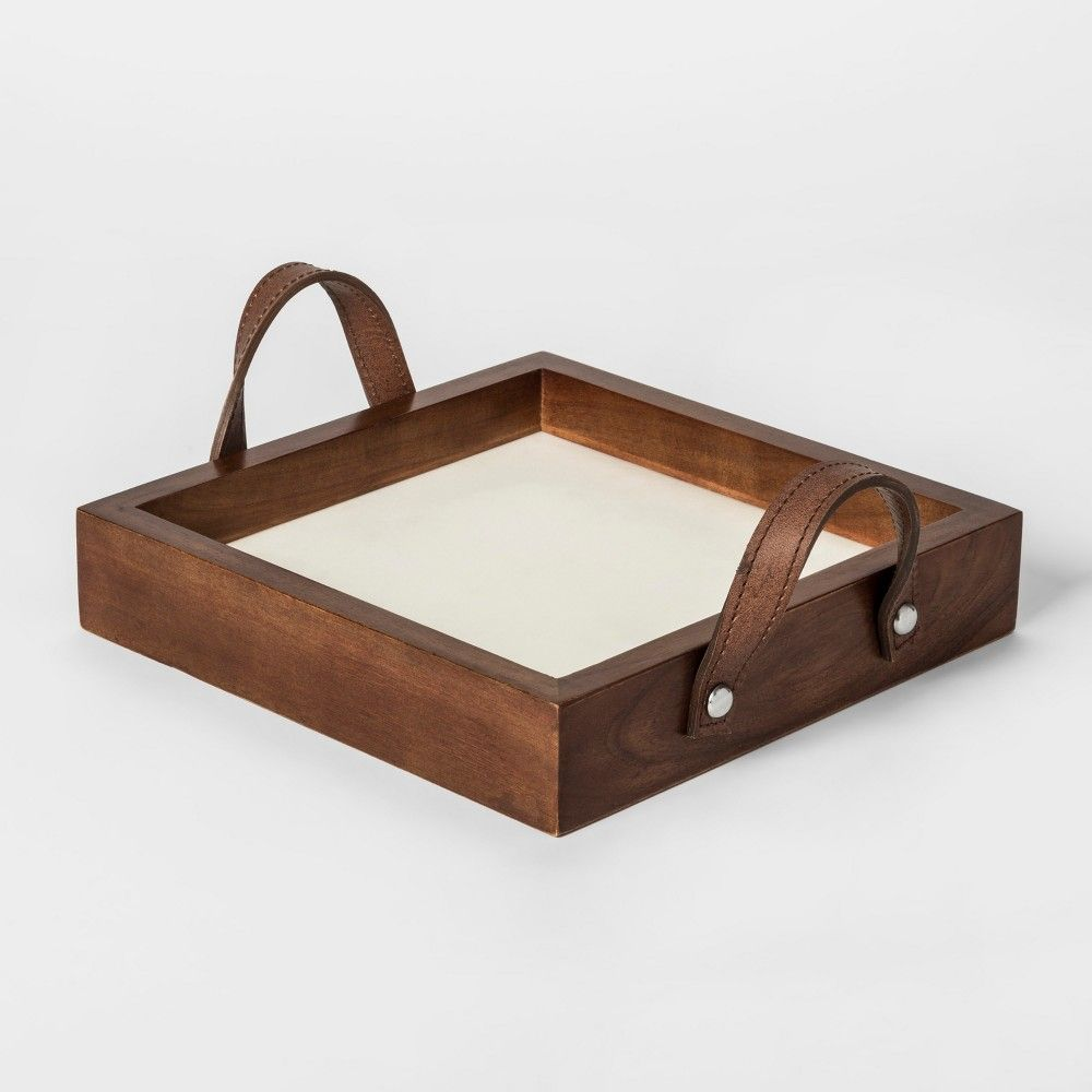 Wooden Decorative Accessories Threshold Wooden Decorative Tray With Gold Pattern