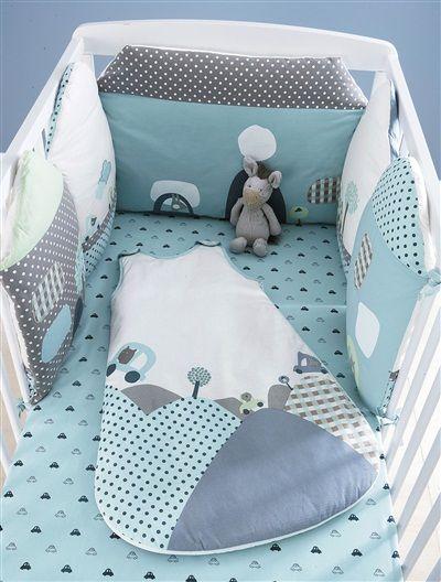 Tour de lit maisons modulables thème En voiture ! BLEU - vertbaudet