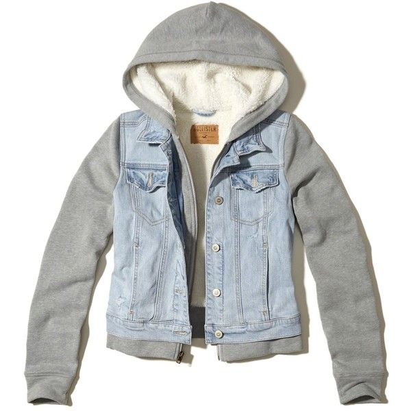 332a291bd Hollister Sherpa Lined Hooded Denim Jacket ($70) ❤ liked on Polyvore  featuring outerwear, jackets, ripped medium wash, zipper jean jacket, blue  denim ...