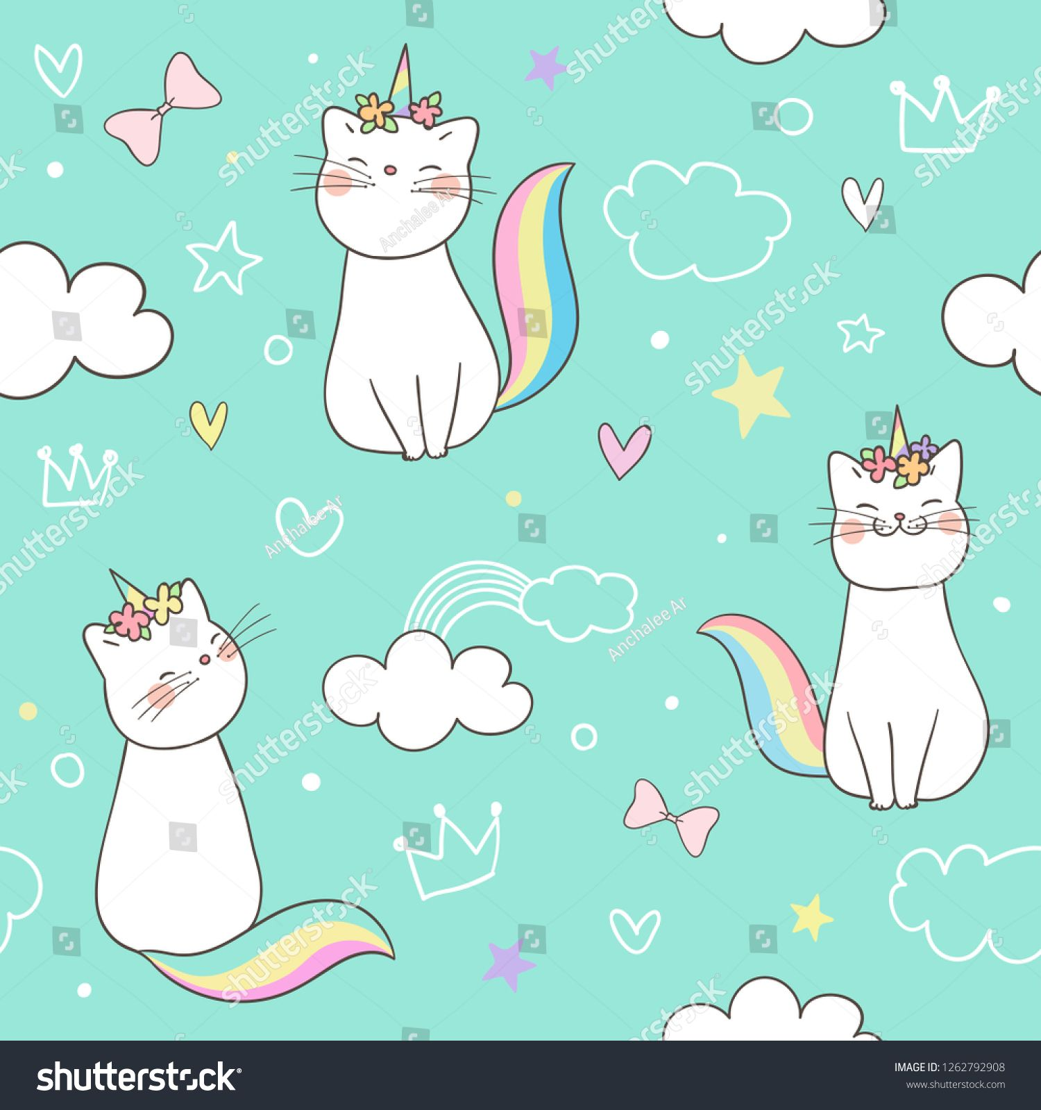 Draw Seamless Pattern Background Kitty Cat Unicorn On Sweet Pastel