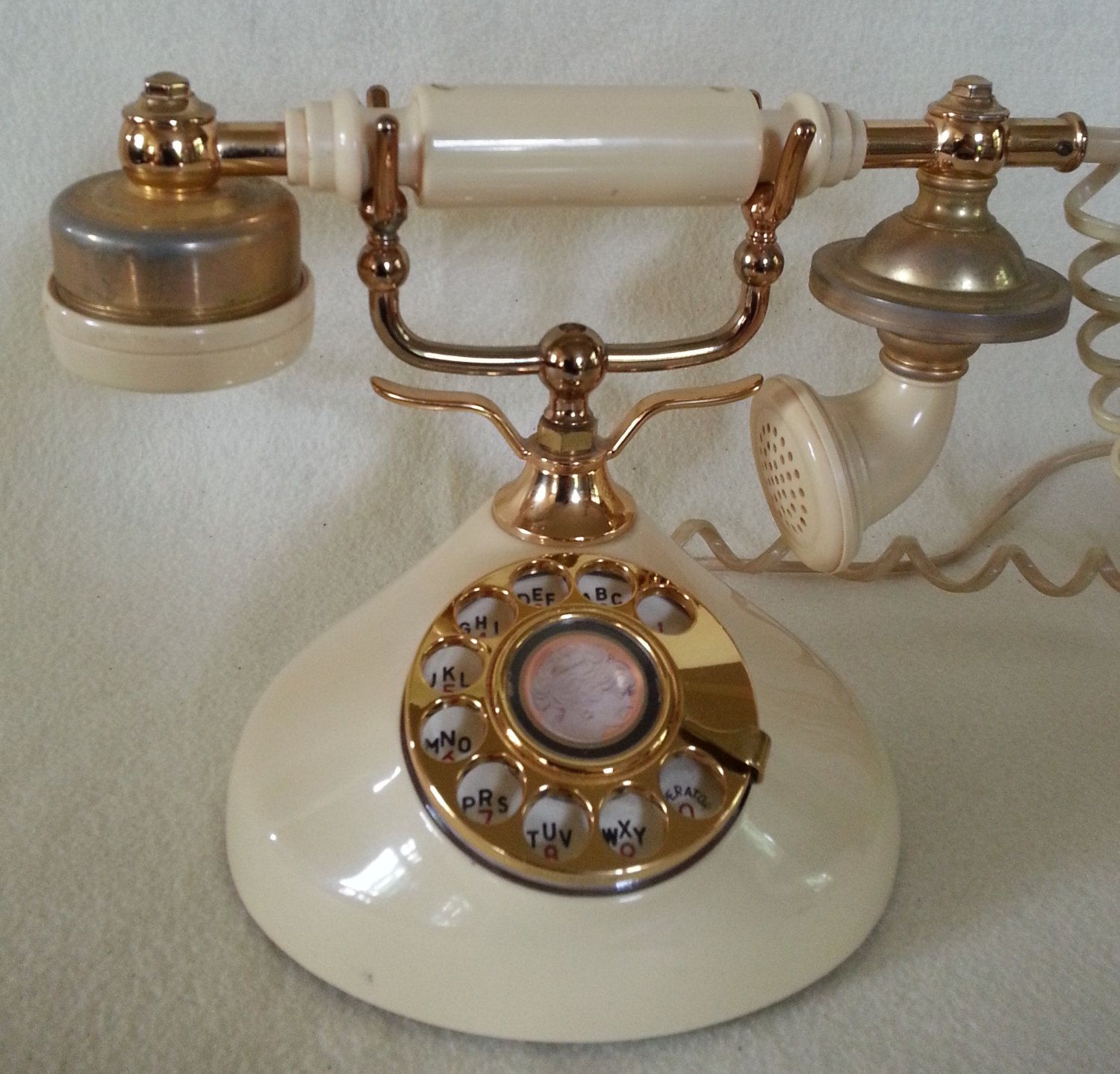 Vintage Rotary Phone Cream and Gold Victorian by