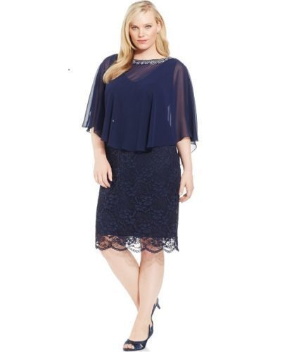 6224aa7a12f Patra Plus Size Lace Capelet Evening Dress Navy 20W