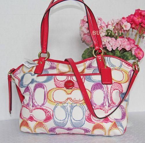 12f32c383ad6 Coach Signature White Pink Orange Purple Pocket Tote Crossbody Purse Bag
