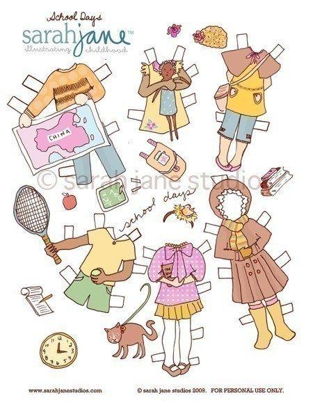 Sarah Jane Wright Paper Dolls | Marionetas de papel, Niño ...