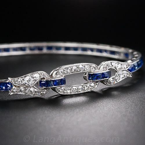 Francouzský Art Deco Sapphire a diamantový náramek náramek