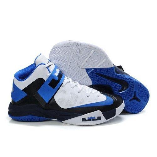 Popular Nike Zoom Lebron James Soldier VI Black Blue White Men Basketball  Shoes For $72.00 Go