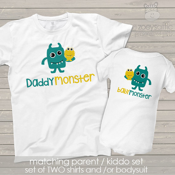 daddymonster and babymonster dad and baby matching monster theme dad and kiddo t-shirt or bodysuit - great gift for Father's Day MDF1-014 MugjlbP93