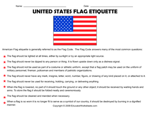 United States Flag Etiquette 4th 8th Grade Worksheet Flag Etiquette Us Flag Etiquette American Flag Etiquette