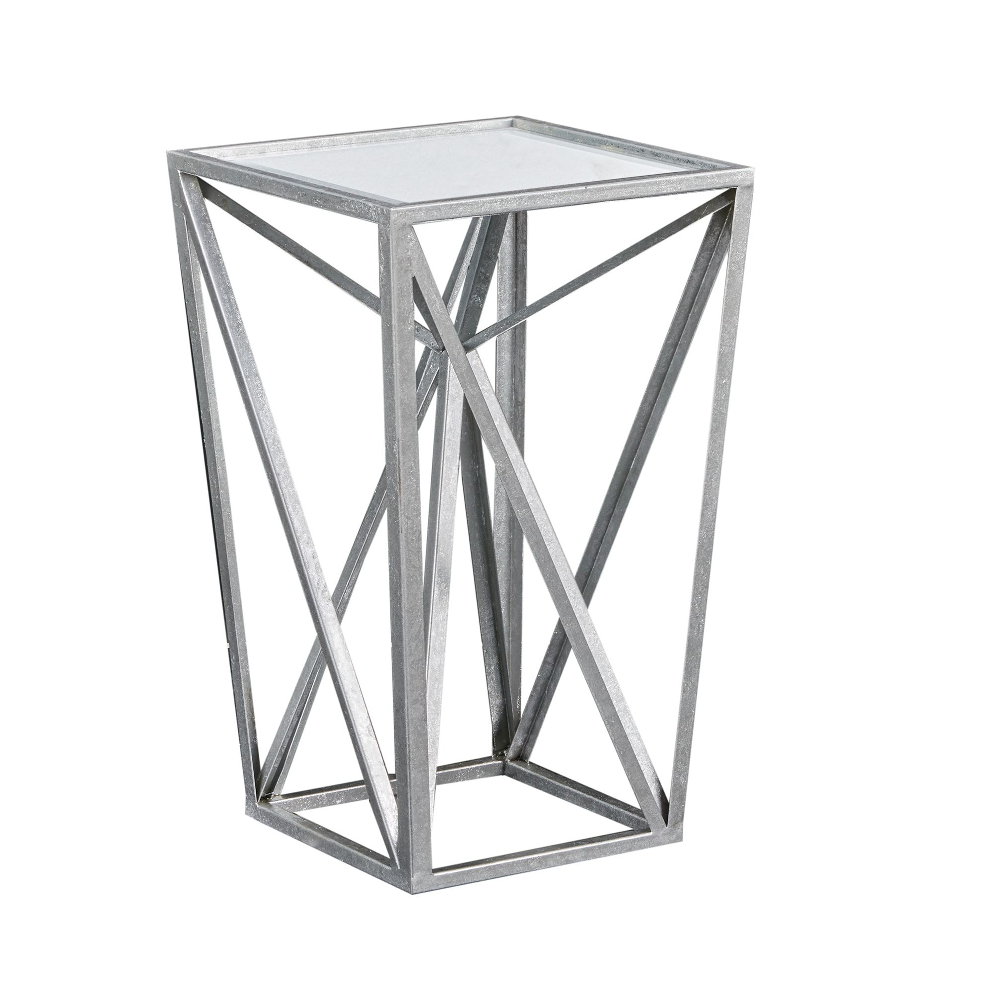 Madison Park Maxx Silver Angular Mirror Accent Table (12.25W X 12.25