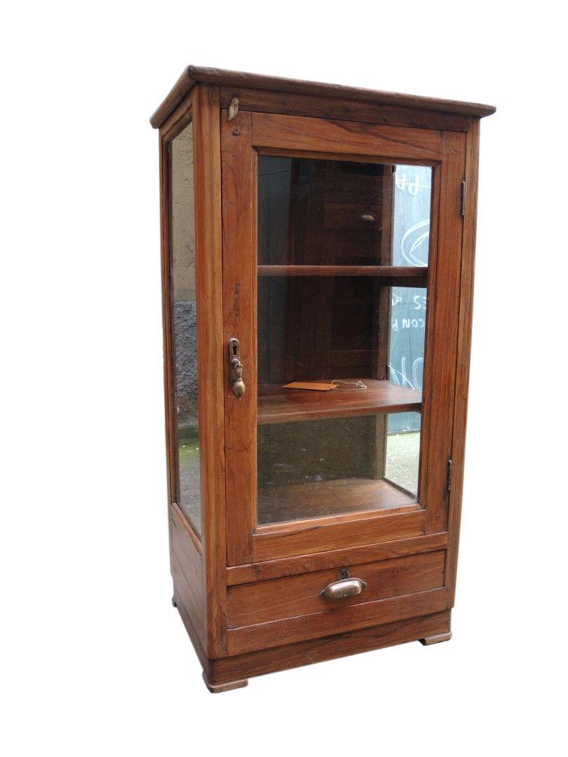 Vetrinetta in legno di teak stile inglese epoca coloniale - Mobiletti in legno ...