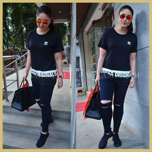 Shop celebrity look, Kareena Kapoor Khan, Black Adidas T-shirt, MyFashgram