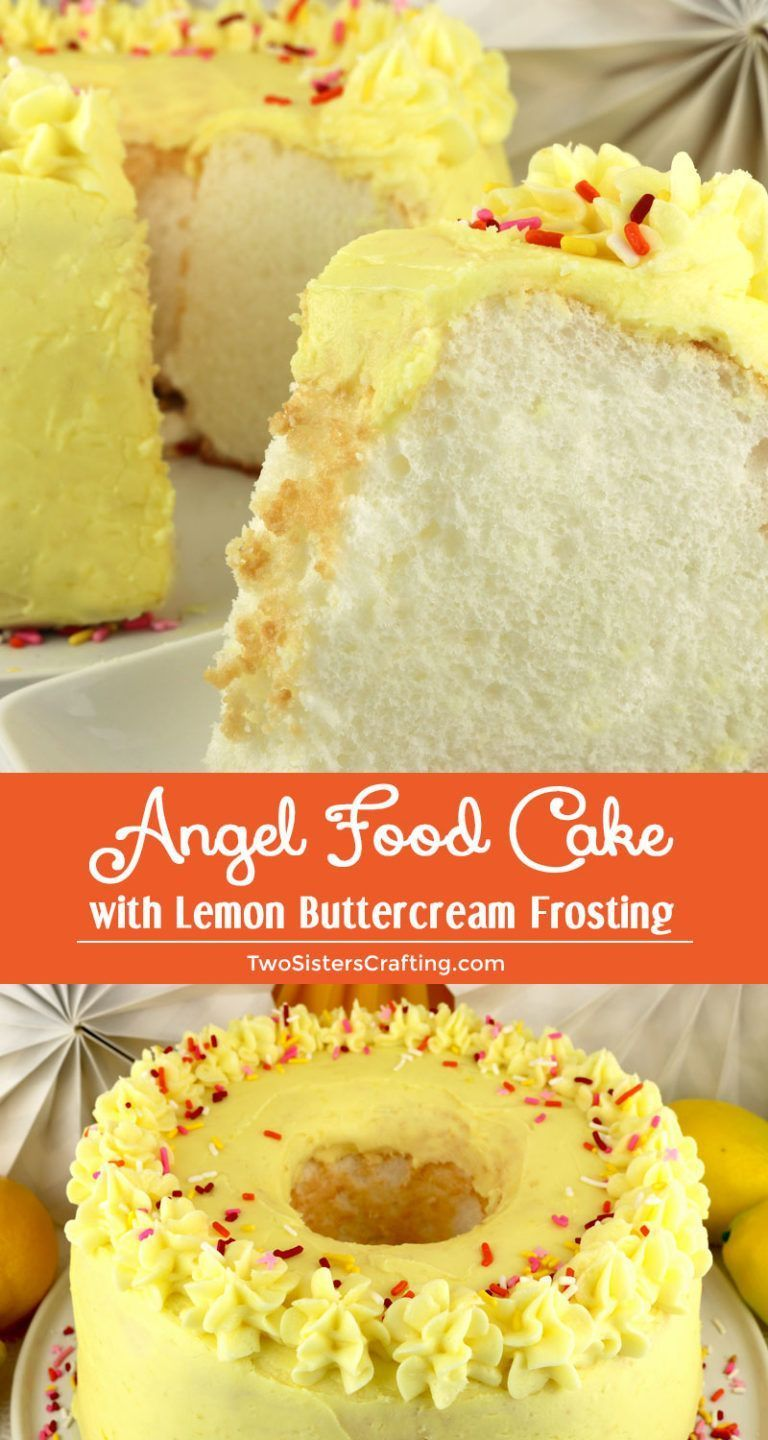 Angel Food Cake with Lemon Buttercream Frosting #lemonbuttercream Angel Food Cake with Lemon Buttercream Frosting - a light and airy cake topped with sweet, tart and yummy Lemon Buttercream Frosting. It's a classic for a reason. What a tasty Brunch dessert, Summertime snack or Birthday. Pin this easy to make Angel Food Cake recipe for later and follow us for more great Easy dessert ideas. #LemonCake #CakeRecipes #Lemon #LemonDesserts #FrostedDesserts #LemonFrosting #AngelFoodCake #EasyDesserts # #lemonbuttercream