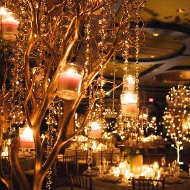 Ideas For Wedding Reception Without Dancing: Candlelit Wedding Without All Of The Beading On The Trees