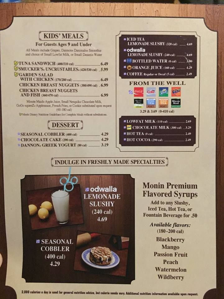 Calorie Contents Being Listed On Some Walt Disney World Quick