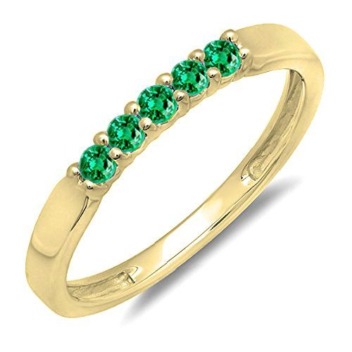 0.25 Carat (ctw) 18K Gold Round Emerald 5 Stone Ladies