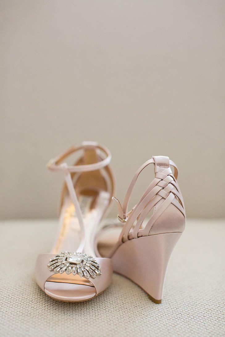 Wedding blush shoes wedges