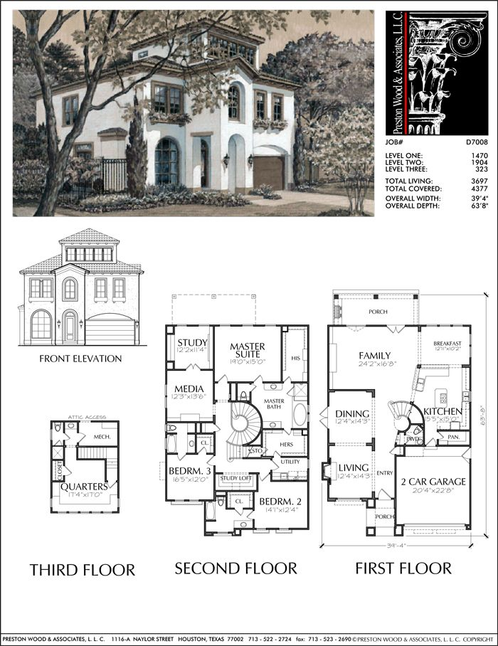 2 1 2 Story House Plan D7008 Two Story House Plans House Blueprints Sims House Plans