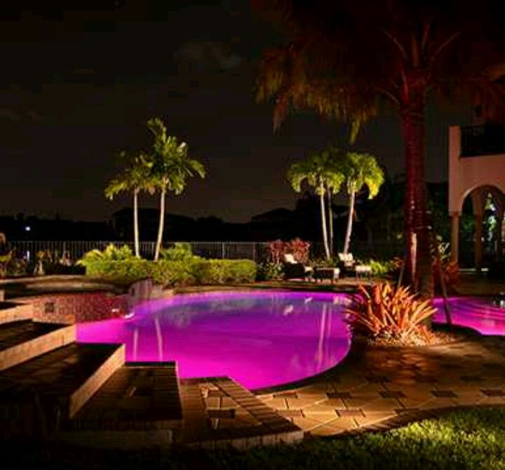Pink Inground Pool Sooooo Awesome I Can T Believe Its Pink April Summey Led Pool Lighting Backyard Pool Landscaping Pool Light