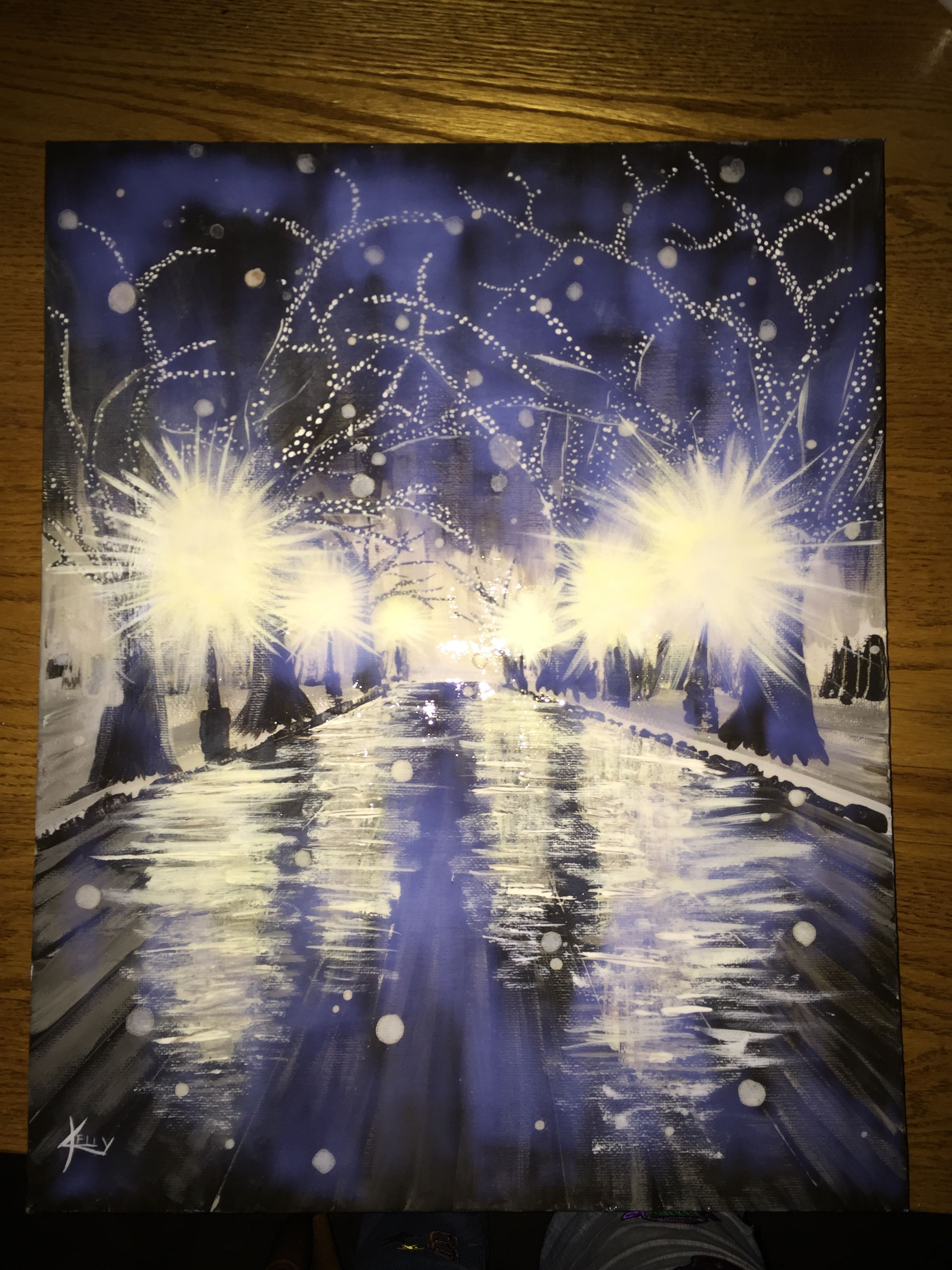 Acrylic painting. Snow at night. See more at RTbykelly on facebook.