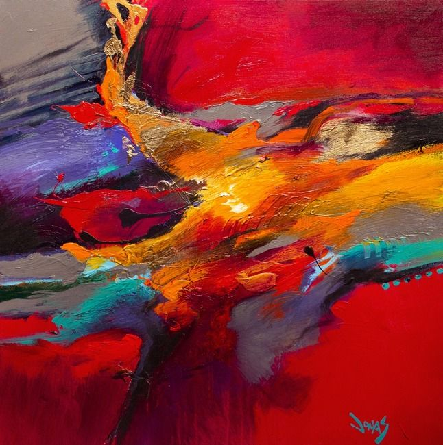 Peinture abstraite moderne huile sur toile mont e sur ch ssis format carr deux dimensions for Peinture abstraite moderne