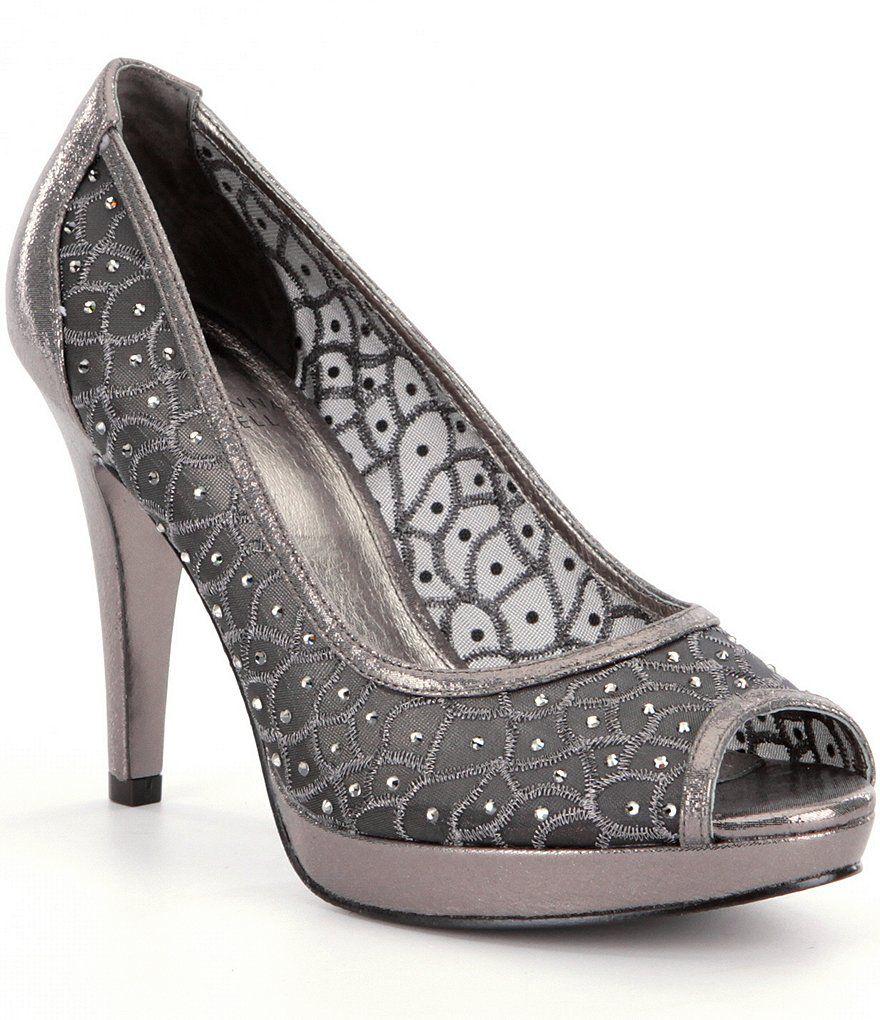 Adrianna Papell Foxy Metallic Rhinestone-Embellished Peep Toe Pumps