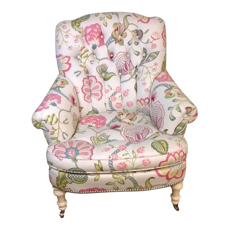 Lillian August Albert Tufted Floral Upholstered Chair Floral