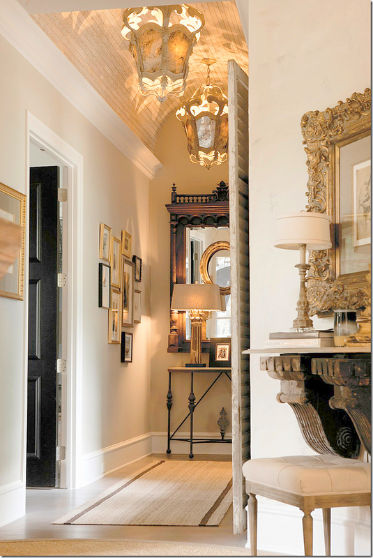 Black Door Barrel Ceiling With Molding Antique Mirror Black And