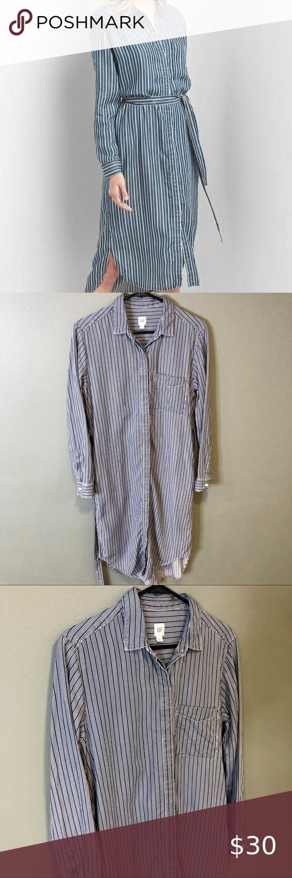 Gap Long Sleeve Button Down Dress Button Down Dress White Striped Dress Dresses [ 1740 x 580 Pixel ]