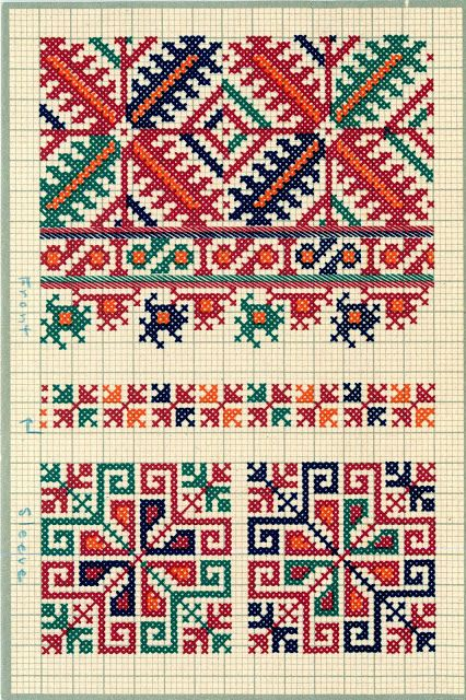 FolkCostume&Embroidery: Charted Embroidery designs from Vrlika ...
