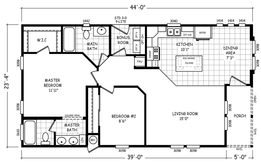 Taos 24 X 44 1027 Sqft Mobile Home Mobile Home Doublewide Mobile Home Floor Plans Mobile Home