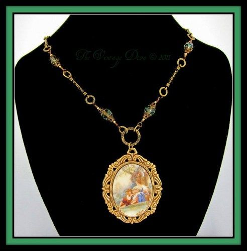 Vintage Victorian Style Romantic Scene Cameo Necklace & Earrings  | TheVintageDiva - Jewelry on ArtFire