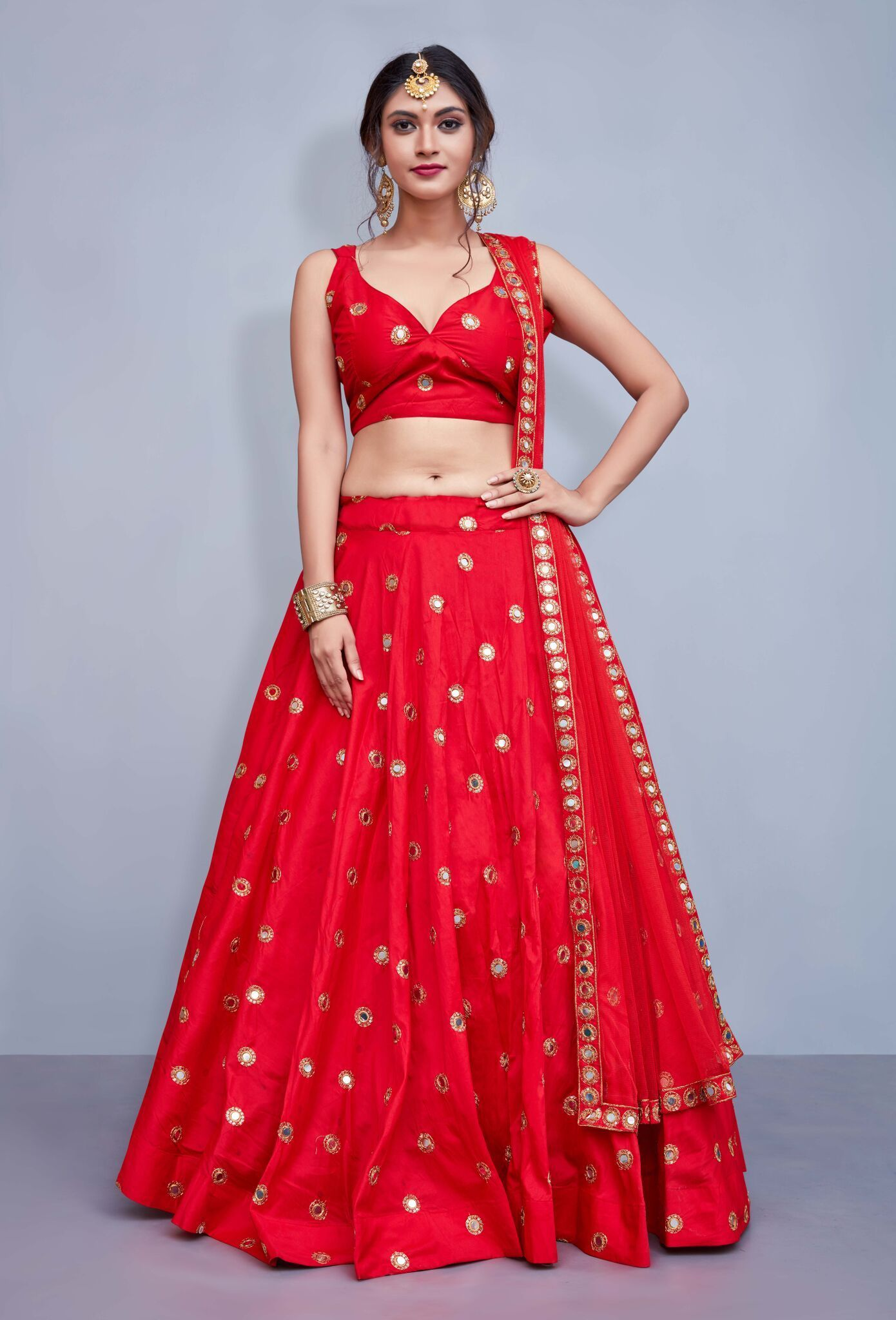 50785eb312 Red Taffeta Silk Mirror Work Sleeveless Fashion Lehenga Choli Online ...