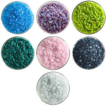 Summer Rain Designer Collection - 7 Colors, 90 COE - Bullseye Glass Coarse Frit Sampler Pack