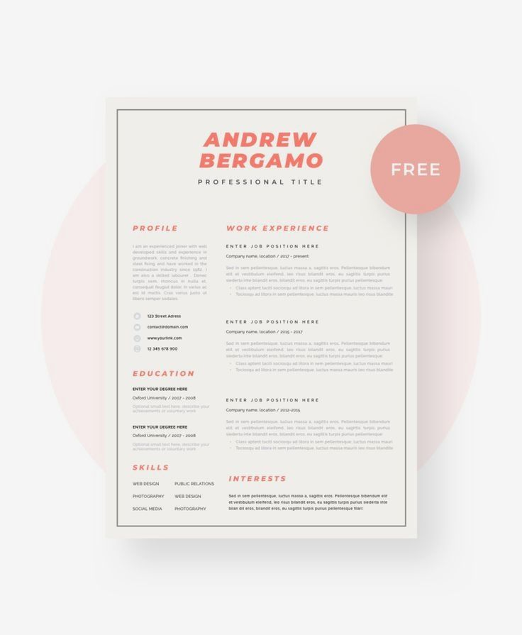 Free Resume Template | Modern Resume Template | CV Template ...