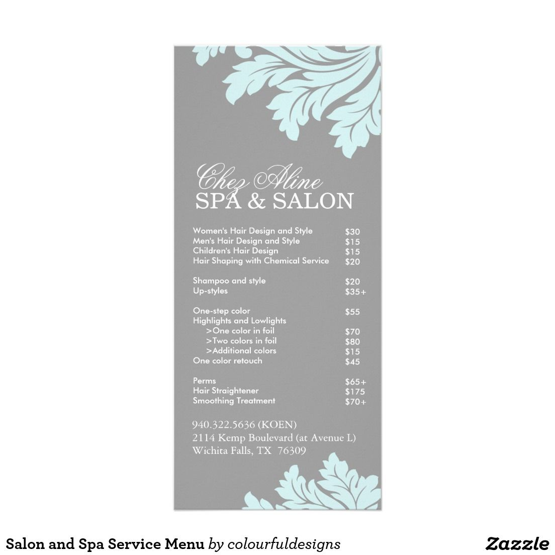 Amazing Spa Menu Template   Google Search