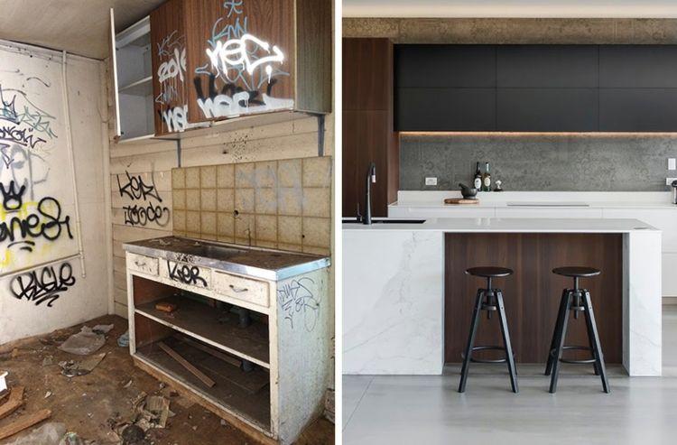 Marmor Kuche Mit Beton Wand Mit Effektvollem Muster Modern Art