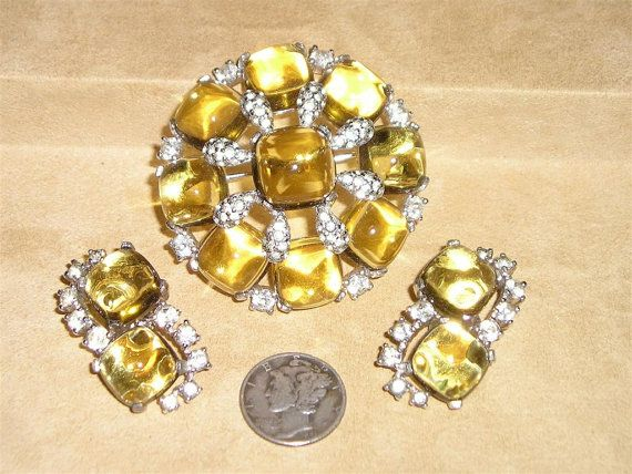 Jomaz Rhinestone Glass Brooch And Earrings Vintage by drjewelsvern, $140.00