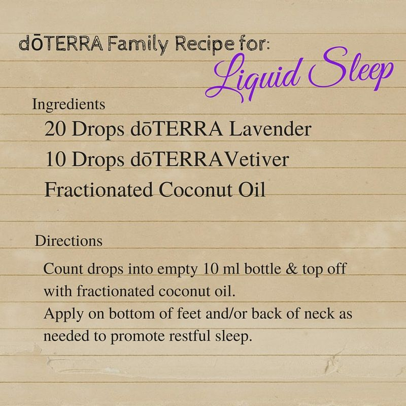 DoTERRA Liquid Sleep Recipe Doterra Relax Essentialoils - Custom vinyl decal application fluid recipe