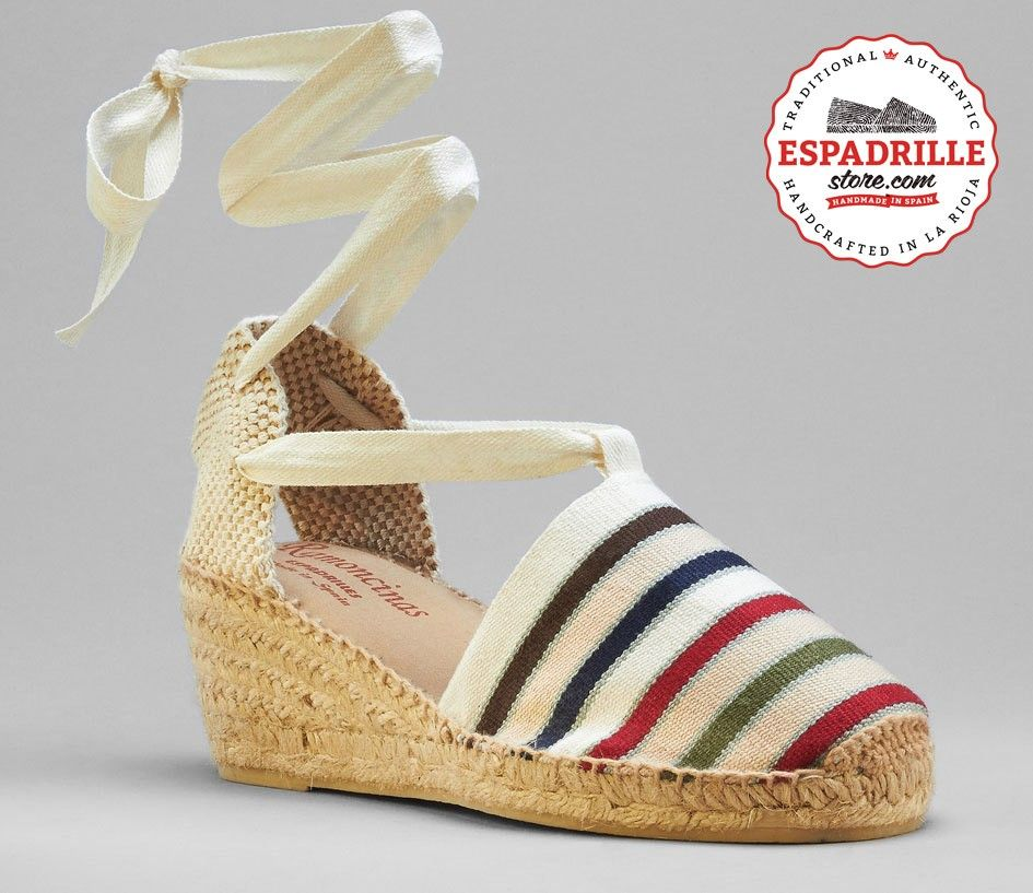High wedge lace-up espadrilles | Striped French cotton canvas